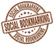 Social bookmarking brown stamp. Social bookmarking brown grunge round stamp isolated on white background stock illustration