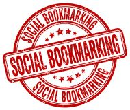 Social bookmarking red stamp. Social bookmarking red grunge round stamp isolated on white background royalty free illustration