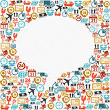 Social bubble shape colorful shipping icons composition. stock photography