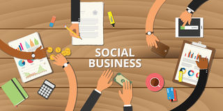 Social business entrepreneurship concept graph data Royalty Free Stock Photos