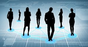 Social or business network. Business and social concept - social or business network, black silhouettes of businesspeople Royalty Free Stock Photos