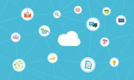 Social business network connection on cloud Royalty Free Stock Photos