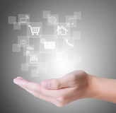 Social buttons in hand Stock Image