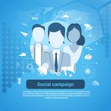Social Campaign Marketing Business Concept Web Banner. Social Campaign Marketing Business Concept Web Banner With Copy Space Flat Vector Illustration Royalty Free Stock Photography