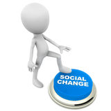 Social change. Text on a blue button being hit by foot of a little cute 3d man, white background, concept of  and improvement of society Stock Photography