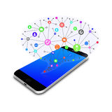 Social  with  chat  bubble on smart phone,cell phone illustration Royalty Free Stock Images