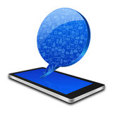 Social with chat bubble on smart phone,cell phone illustration Royalty Free Stock Photo