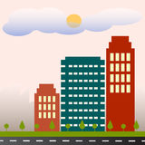 Social city. Flat design city building, city building Stock Photography