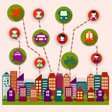 0115_1 social city. Social city residents communicate with each other Stock Images