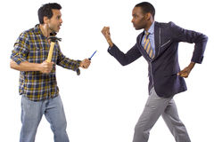 Social Class Warfare. Blue collar worker vs white collar professional Stock Photos
