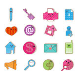 Social color Media type cartoon icon Stock Photos