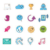 Social color Media type cartoon icon Royalty Free Stock Images