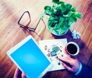 Social Communication Digital Tablet Launch Concept Stock Photo