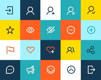 Social and communication icons. Flat Stock Photography