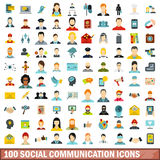 100 social communication icons set, flat style Stock Image