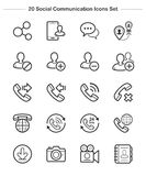 Social Communication icons set, Line Thickness icons Stock Image