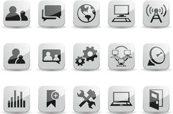 Social Communication Network Black and White Gloss. A set of 15 Social Communication Network Black and White Glossy Icons Stock Photo