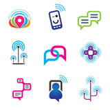 Social communication phone and internet network for world connectivity Stock Photography