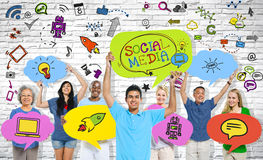 Social Communications Holding Speech Bubbles.  stock images