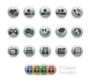 Social Communications Icons -- Metal Round Series Royalty Free Stock Photo