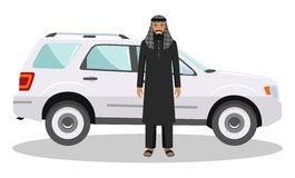 Social concept. Arab man standing near the car in traditional islamic clothes. Detailed illustration of automobile and saudi arabi Royalty Free Stock Photo