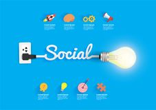 Social concept with creative light bulb idea Stock Image