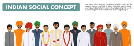 Social concept. Group indian people standing together in different traditional national clothes on white background in Stock Photo