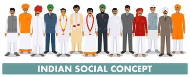 Social concept. Group indian people standing together in different traditional national clothes on white background in Royalty Free Stock Image