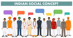 Social concept. Group indian people standing together and speech bubbles in different traditional national clothes  Stock Photos