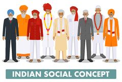 Social concept. Group indian senior people standing together in different traditional national clothes on white Stock Photo