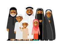 Social concept - happy muslim arabic family isolated on white background in flat style Stock Photo