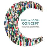 Social concept. Large group muslim arabic people professions occupation standing together in the shape of crescent in Royalty Free Stock Photos