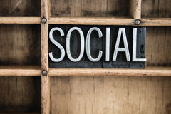 Social Concept Metal Letterpress Word in Drawer Royalty Free Stock Photo