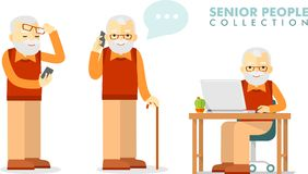 Social concept - old man using computer and mobile Royalty Free Stock Photos