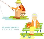 Social concept - old people hobby activity Stock Photography
