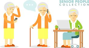 Social concept - old woman using computer and Royalty Free Stock Photo