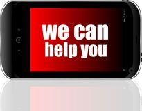 Free Social Concept. Text We Can Help You . Detailed Modern Smart Phone Royalty Free Stock Photography - 190333627