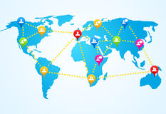Social connection map with pin icons Stock Images