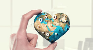 Social connection and networking. Mixed media . Mixed media. Female hand holding Earth planet presenting connection technologies concept. Elements of this image Royalty Free Stock Photos