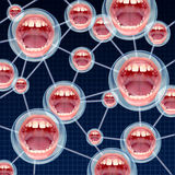 Social Connections. Communication concept as a group network on the internet with connected bubbles as human mouths inside as a symbol of talking and sharing Stock Photos