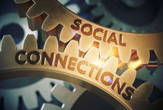 Social Connections on Golden Cog Gears. 3D Illustration. Stock Image
