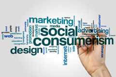 Social consumerism word cloud. Concept on grey background Royalty Free Stock Photography