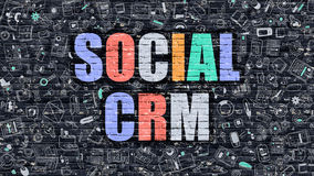 Social CRM Concept. Multicolor on Dark Brickwall. Royalty Free Stock Photos
