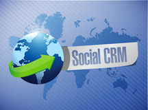 Social crm globe message world map Stock Image
