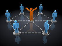 Social diagram. Abstract 3d illustration of people network, over black background Royalty Free Stock Photo