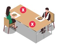 Free Social Distance At Cafeteria For Covid 19 Disease. Poster For Cafeteria Table To Protect People From Corona Virus During Eating. Stock Photography - 184544942