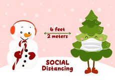 Free Social Distancing 6 Feet Away With Snowman With Candy Cane And Christmas Tree With Face Mask Stock Photo - 200316980