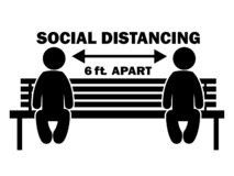 Free Social Distancing 6ft. Apart Stick Figure On Bench. Illustration Arrow Depicting Social Distancing Guidelines And Rules During Royalty Free Stock Image - 183704506