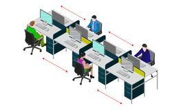 Free Social Distancing At Office Workstation. Employees Are Working Together On Desk With Maintaining Distance For Covid 19 Virus. Royalty Free Stock Image - 181389436