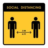 Social distancing banner. Keep the 2 meter distance. Coronovirus epidemic protective. Vector illustration